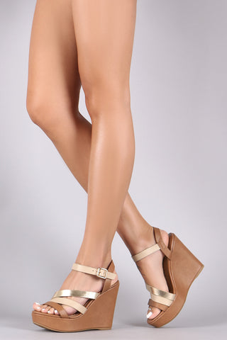 Bamboo Triple Strap Ankle Strap Platform Wedge