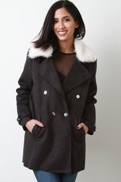 Suede Faux Fur Collar Belted Sleeves Jacket