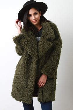 Oversize Curly Faux Fur Coat