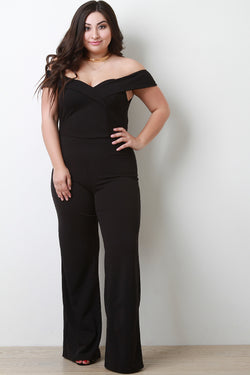 Off The Shoulder Sweetheart Neck Palazzo Jumpsuit