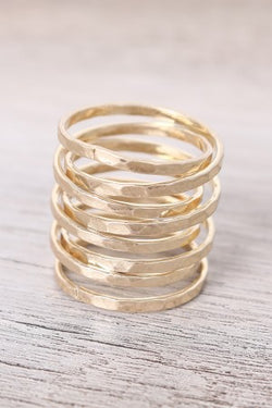 Hammered Wrapped Crossover Rings