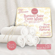 Heart Felt Bamboo Cloth Natural Reusable Baby Wipes (5 Pack, XL)