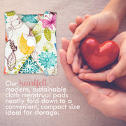 Heart Felt Bamboo Reusable Cloth Menstrual Pads (5 Pack, Medium Flow)