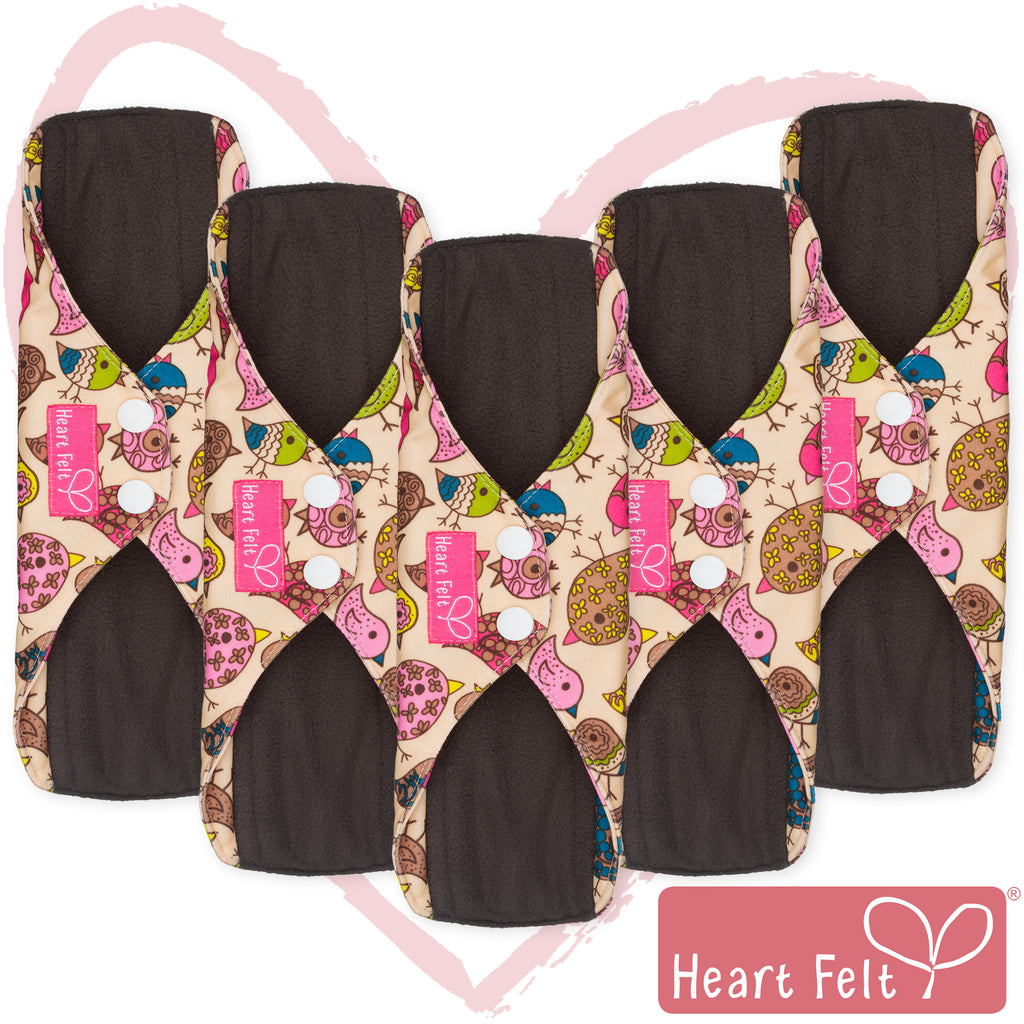 Heart Felt Bamboo Reusable Cloth Menstrual Pads (5 Pack, Bird Print)