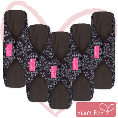 Heart Felt Bamboo Reusable Cloth Menstrual Pads (5 Pack, Blue Lace)