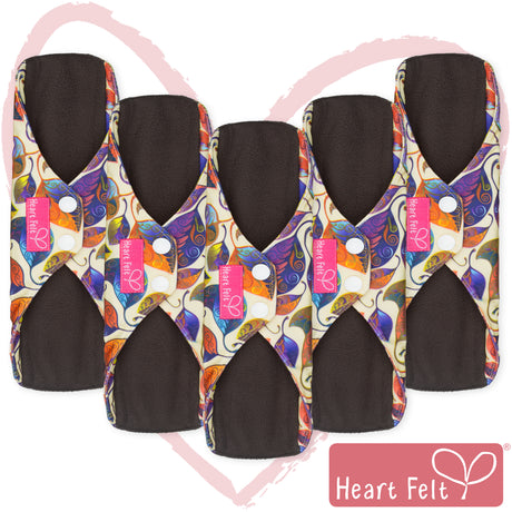 Heart Felt Bamboo Reusable Cloth Menstrual Pads (5 Pack, Leaves)