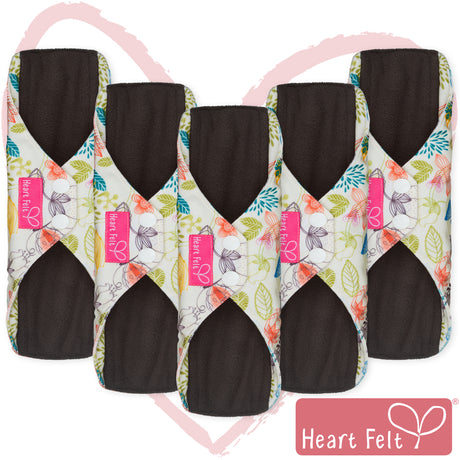 Heart Felt Bamboo Reusable Cloth Menstrual Pads (5 Pack, Floral)