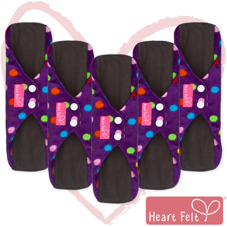 Heart Felt Bamboo Reusable Cloth Menstrual Pads (5 Pack, Polka Dot)