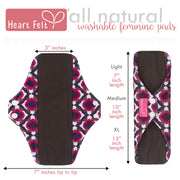 Heart Felt Bamboo Reusable Cloth Menstrual Pads (5 Pack, Purple)