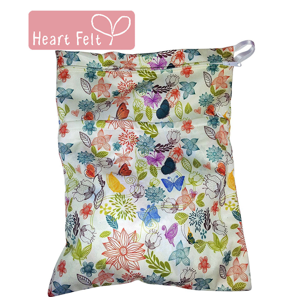 Heart Felt Waterproof Diaper Wet Bag with Floral Print