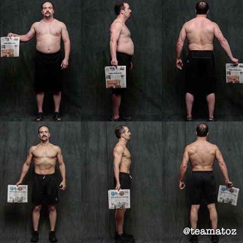 My collage of transformation photos starting January 4 and ending today April 1. Starting at 204.5 lbs. @ 16.25% body fat and ending at 168.3 lbs. @ 7.98% body fat. A loss of 36.3 lbs. and 8.27% body fat, I hit all my top goals! Big thanks to Alyx Luck Ulbrich for the meal and workout plan, I couldn't have done it without you constantly pushing me further.  - Mike F