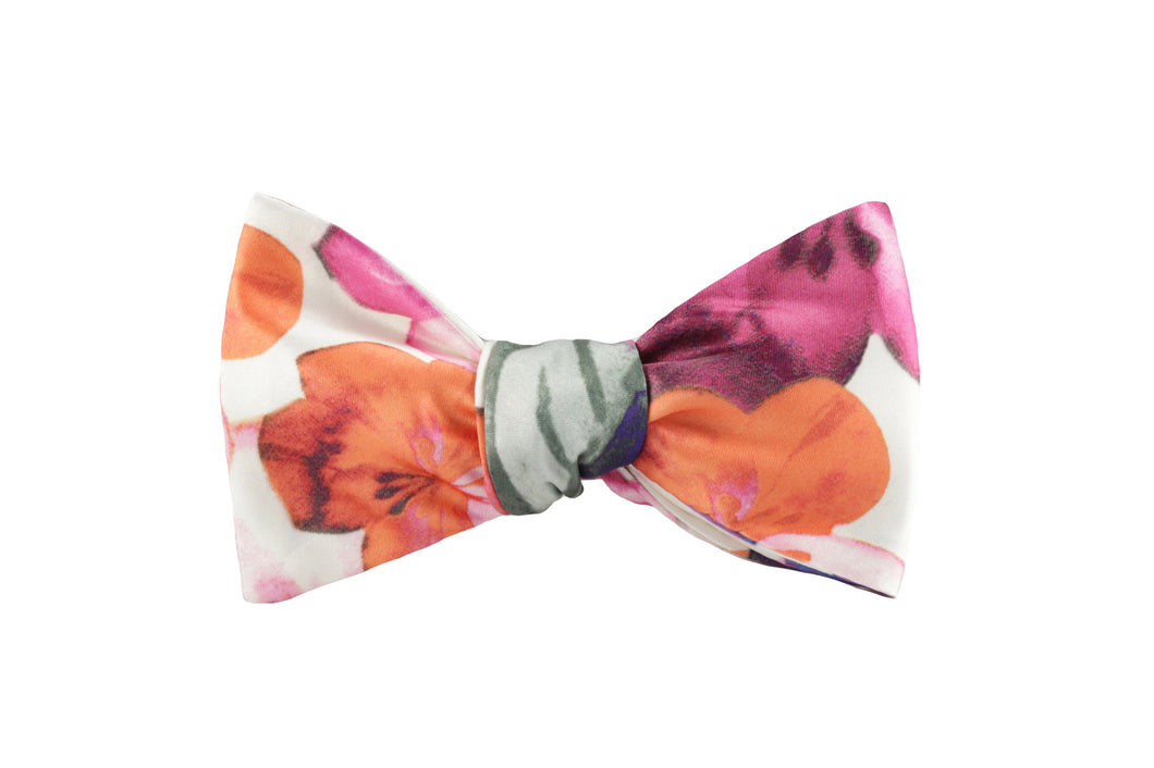 Satin Floral Bow Tie