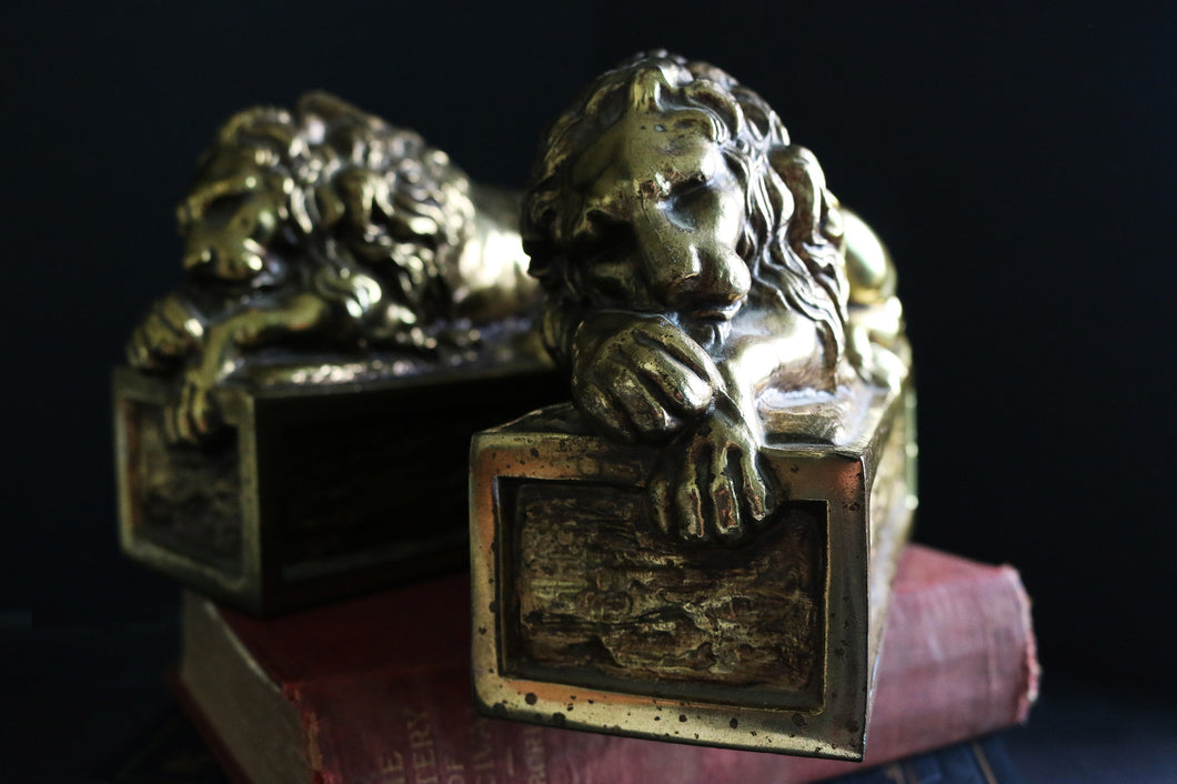 Vintage Lion Bookends