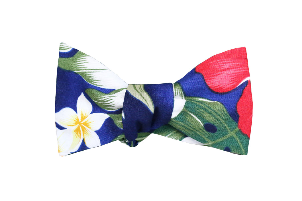 Blue Hawaiian Print Bow Tie