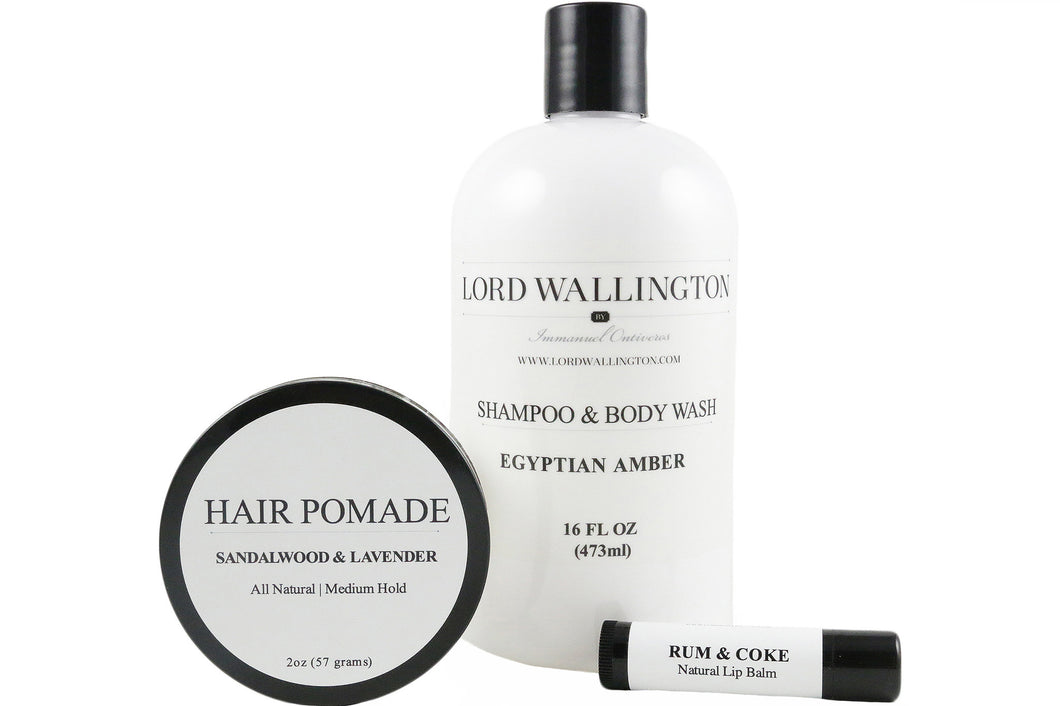 Grooming Set-Pomade, Shampoo & Body Wash, and Lip Balm