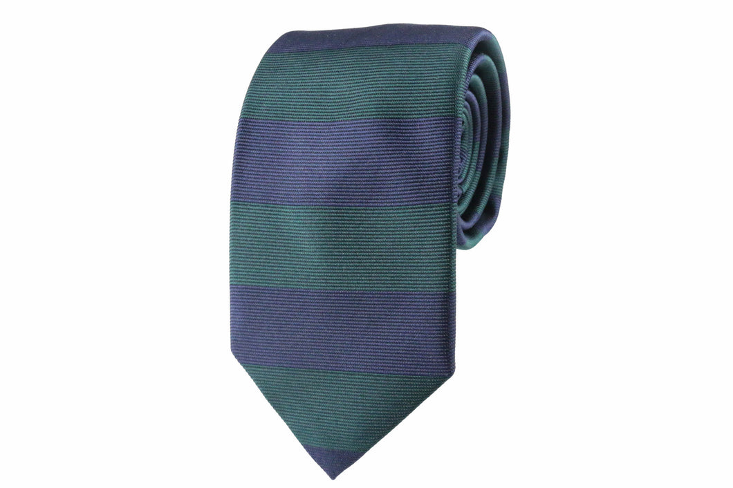 Navy Blue & Green Silk Striped Tie