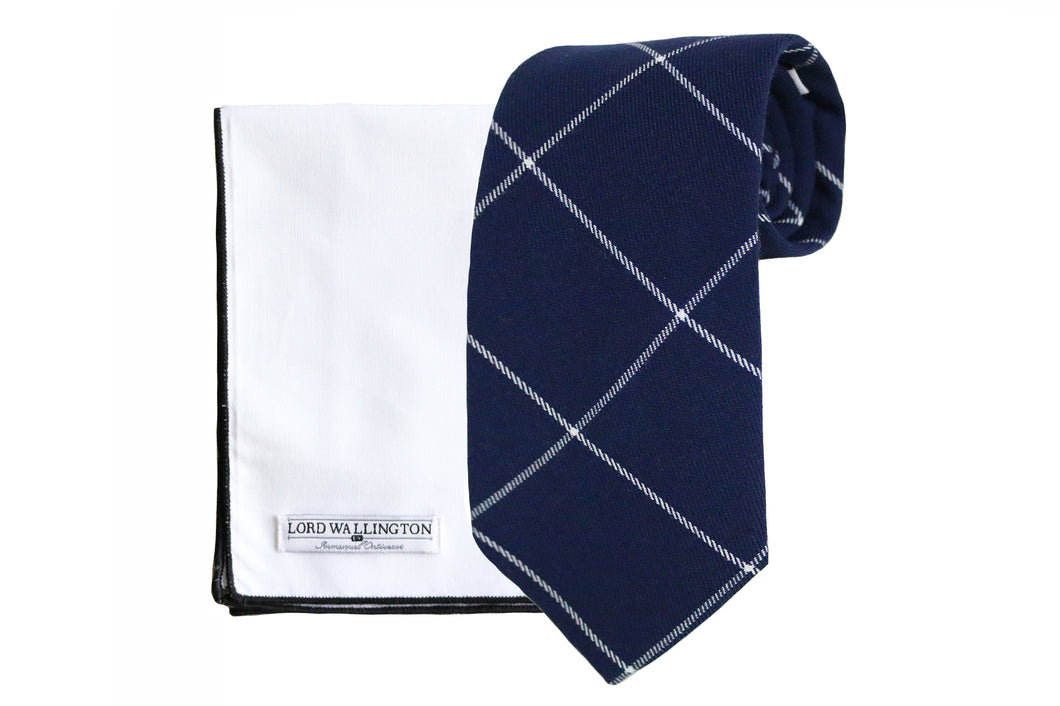 Navy Blue Windowpane Tie Set