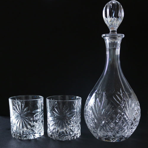 Vintage Crystal Decanter with Crystal Rock Glasses