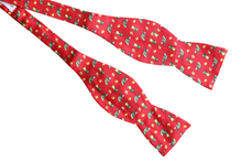 Red Lemon Print Silk Bow Tie