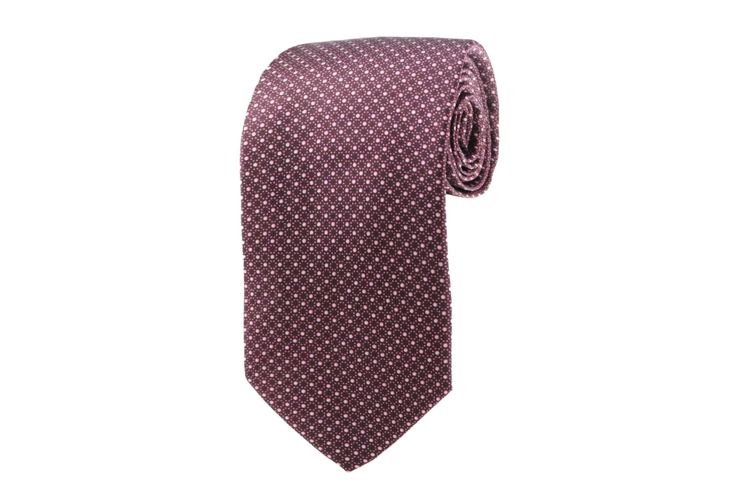 Burgundy Silk Geometric Tie