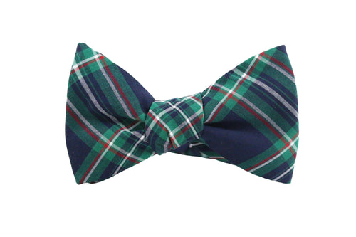 Green Plaid Bow Tie