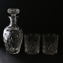 Vintage Floral Crystal Decanter with Crystal Rock Glasses