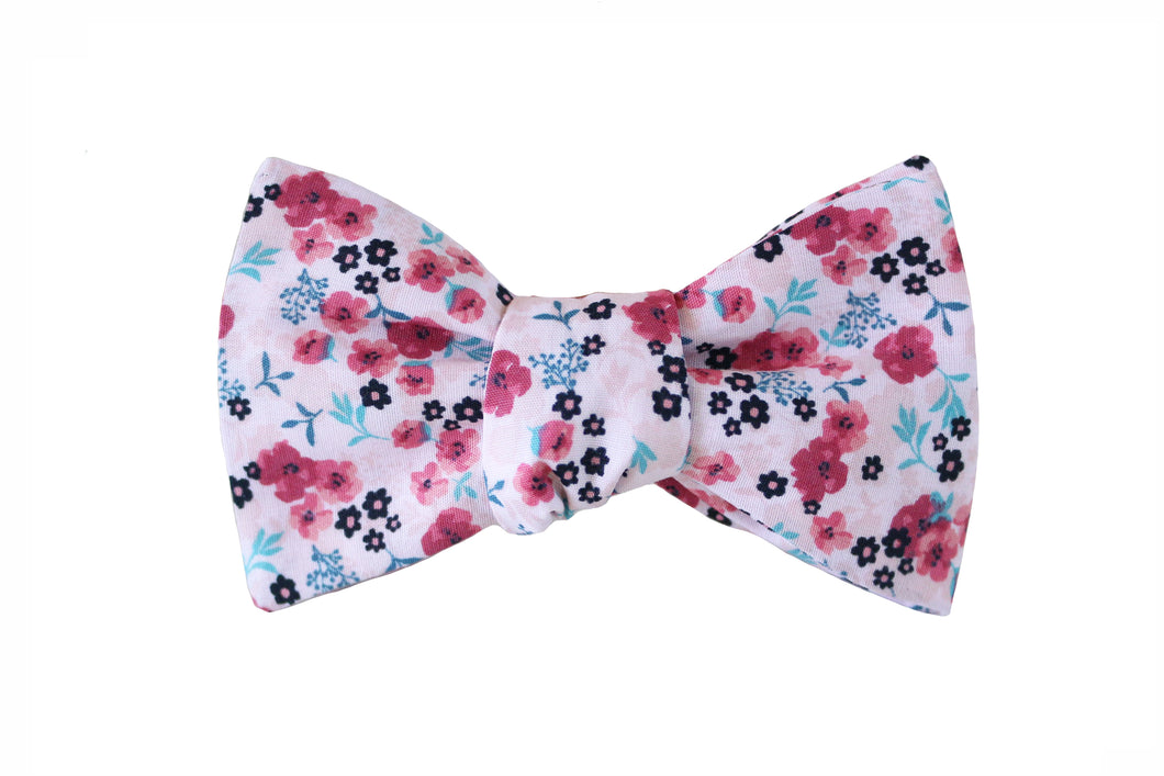 Pink Floral Bow Tie