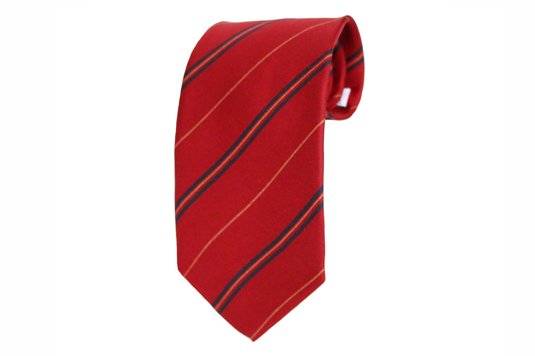 Dark Red Striped Silk Tie