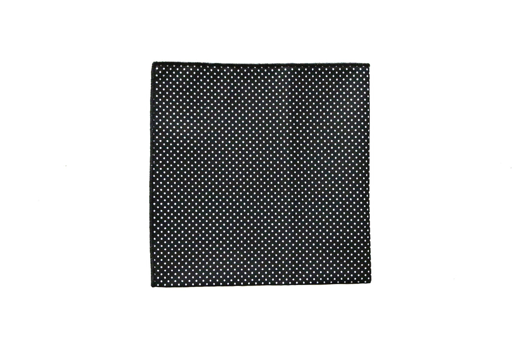 Tipped Black and White Polka Dot Pocket Square