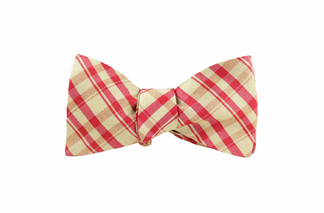 Red and Gold Plaid Silk Bow Tie