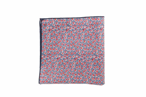 Tipped Red Floral Pocket Square