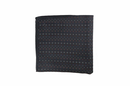 Tipped Black Geometric Dot Pocket Square