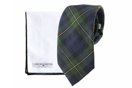 tartan tie and pocket square set