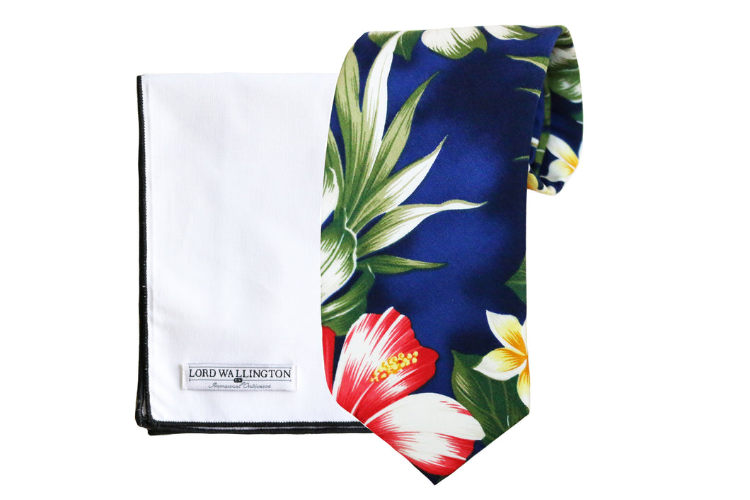 Blue Hawaiian Print Tie Set