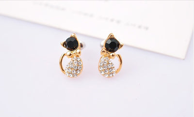 Lovely Rhinestone Cat Earrings Offer - MajorRetailTherapy.com