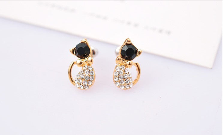 Lovely Rhinestone Cat Earrings - MajorRetailTherapy.com