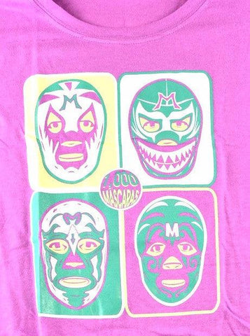WOMAN MIL MASKS Lucha Libre T shirt Short Sleeve Round Neck