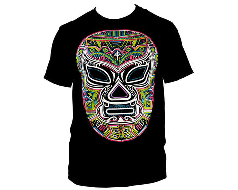 Blue Lucha Libre T shirt Short Sleeve Round Neck