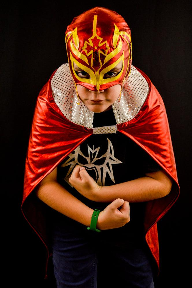 Kid Red Cape Mexican Wrestling Lucha Libre Luchador Halloween Costume