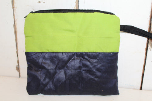 Navy, Lime & White Coin/Cosmetics Clutch - 12th Man Sale