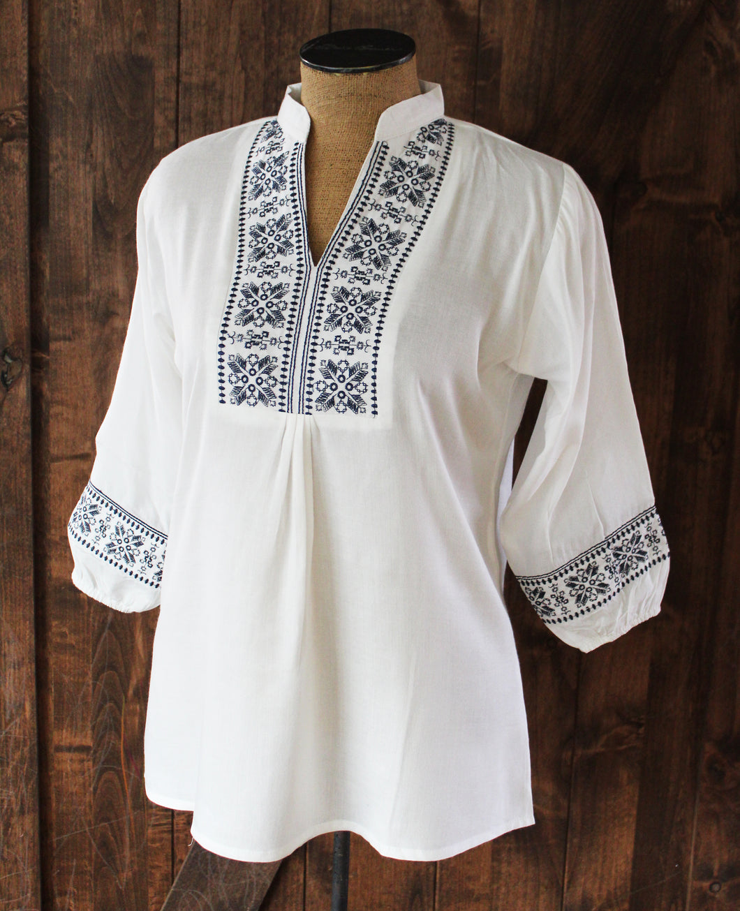 White & Navy Kurti Top