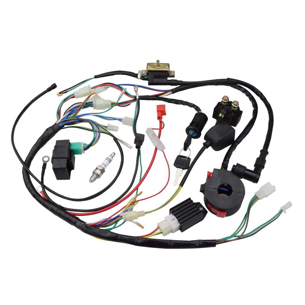 GOOFIT Ignition Rebuild Kit Wiring Harness for 110cc 125cc ATV Quad Bike Go  Kart Buggy