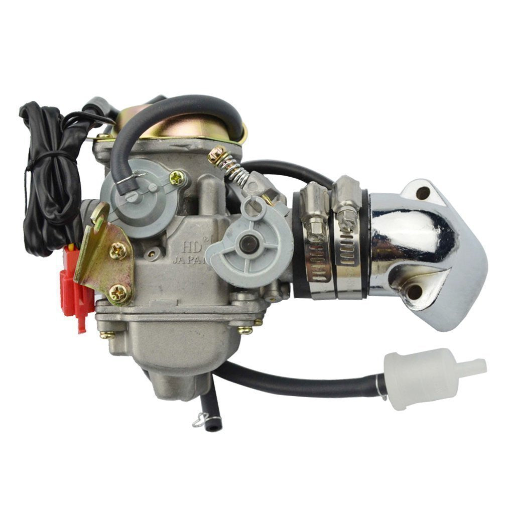 GOOFIT PD24J 24mm Carburetor with Intake Manifold Pipe for GY6 125cc 150cc  ATV Scooter