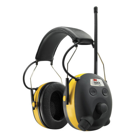 3M Peltor WorkTunes Earmuff, AM/FM/MP3, Black/Yellow (90541)