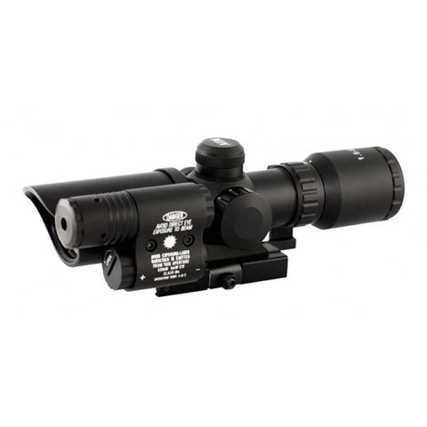 AIMSPORT 1.5-5x32 Tactical Compact Scope w/Green Laser, Short, Illum. Duplex Reticle (JSDG15532G)