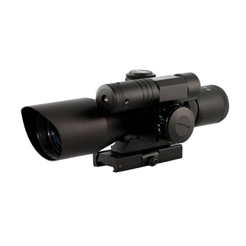 AIMSPORT 2.5-10x40 Tactical Compact Scope w/Green Laser, Illum. Mil-Dot Reticle (JDG251040G)