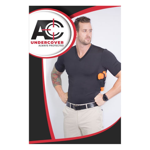 AC UNDERCOVER Mens Elite Edition Concealment V-Neck Black Shirt (512-BLK)