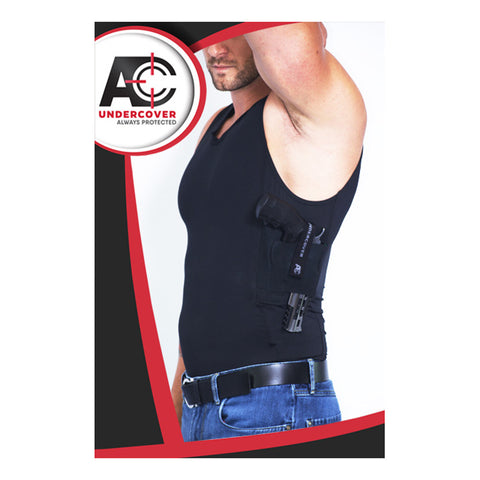 AC UNDERCOVER Mens Compression Concealment Black Tank Top Shirt (513-BLK)