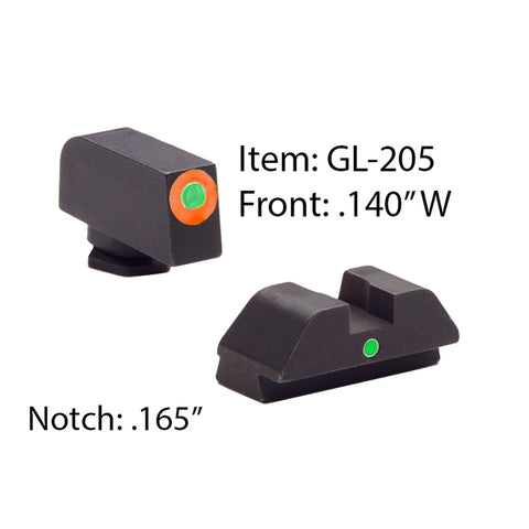 AMERIGLO Glock Tritium I-Dot Green with Orange Outline Front and Green Rear Sights (GL-205)