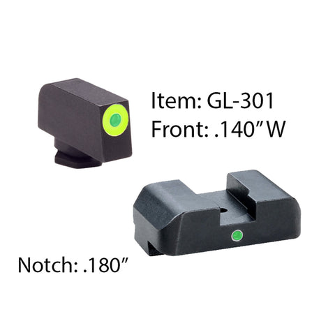 AMERIGLO Glock Tritium I-Dot 2 Dot Green Front and Rear Sights (GL-301)